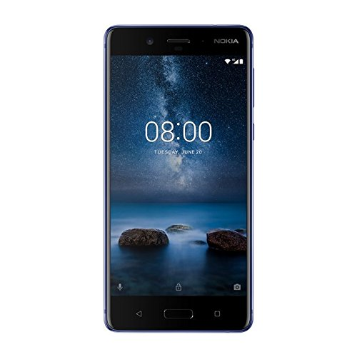 "Nokia 8 Smartphone da 128 GB di Memoria, 5,3"" 2560 x 1440, Octa core Snapdragon 835, 6 GB RAM, Camera 13 MP, Dual SIM, Blu Lucido, Android [Italia]"
