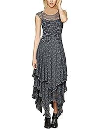 BoBoLily Donna Vestiti Lunghi in Pizzo Eleganti da Cerimonia Vestito da  Sera Estivi A Pieghe Abito Senza Maniche… 0254ed4f125
