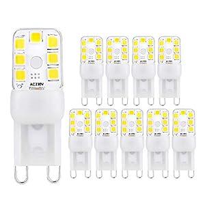ELINKUME 10 Stück G9 LED Lampe 214Lumen, 3000k warmweiß und Kein Flackern Nicht Dimmbar G9 LED Leuchtmittel 2W Ersatz 20W G9 Halogenlampe, 360° Abstrahlwinkel, AC 220-240V
