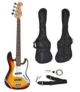 Basso elettrico a 4 corde Sunburst Jazz Bass con fodero e corde sostitutive.