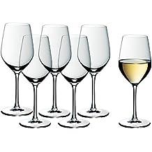 WMF Weinglas Weißweingläser 6er Set easy Plus 22cm 390ml Weißweinglas Kelch hochwertig edel Kristallglas spülmaschinenfest klar transparent farblos elegant