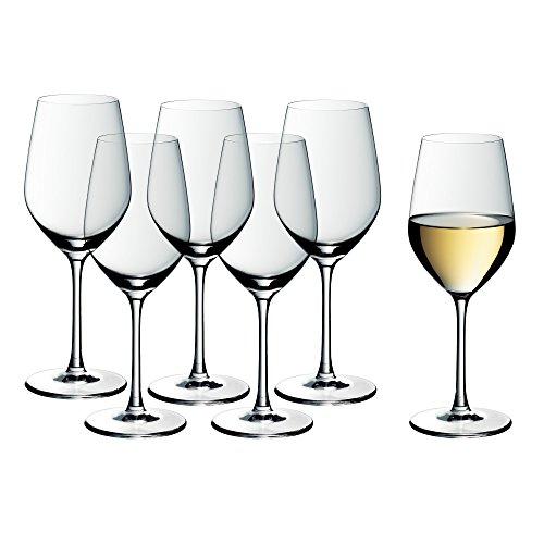 WMF easy Plus Weißwein Kristall-/Weingläser-Set, 6-teilig, 390ml, spülmaschinenfest, transparent