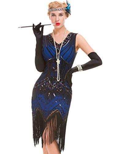 GVOICE Damen Art Deco Vintage Gatsby Kleid - 1920er Jahre Cocktail Flapper Kleid (blau, M(UK 12 / EU 40) Bust 35.4