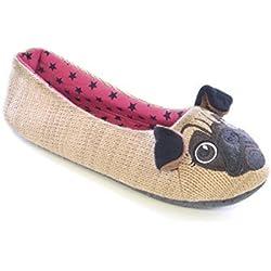 Slumberz - Zapatillas de estar por casa para mujer Pug - Brown