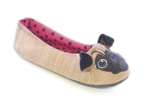 filles-mesdames-chaussons-animaux-fantaisie-ballerine-taille-3-8chien-carlin-ours-raton-laveur-pug-b
