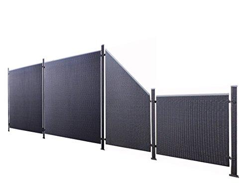 Poly-Rattan Sichtschutz / Zaun-Set 9-teilig schwarz ca. 580cm Prime Tech