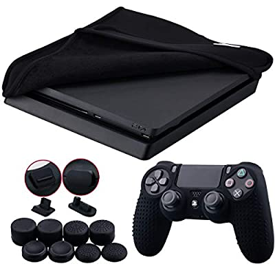 9CDeer Soft Neoprene Dirt Dust Protective Cover Black for PS4 Slim Horizontal Version + 1 Piece Controller Silicone Cover Skin Black + 2 Pieces Controller Dust Proof Plugs + 8 Pieces Thumb Grips by 9CDeer
