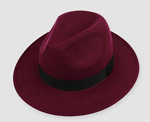 Hippie Unisex Männer Jazz Wool Trilby Bowler Fedora Panama Hut Gangster Kappe, rot wein (Black Box Wein Kostüm)