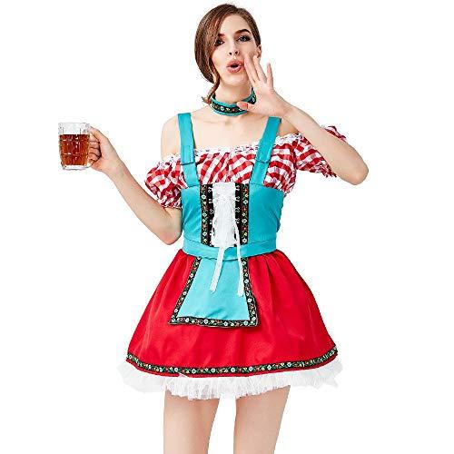 MCO%SISTSR Cheerleader-Kostüm,Mädchen Erwachsene Festival Uniform Traditionelle Oktoberfest Kostüm Cosplay Party Bar Red Plaid Sling Polyester ()