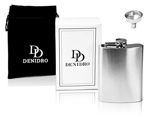 Premium Denidro Edelstahl Flachmann | 8 oz. ca.230ml | in edler Verpackung und hochwertigem Samtbeutel | mit Trichter Set | Geschenkidee | Verbesserte Version | Taschenflasche | Trinkflasche