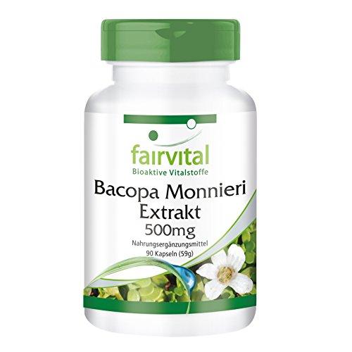 fairvital - Bacopa monnieri (brahmi) en cápsulas - 500mg - 90 cápsulas - ayuda a estudiar - ayuda para mayor concentración y memoria
