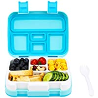 G.a HOMEFAVOR Kids Lunch Box with 5 Compartment, Leakproof Snacks Bento Box for School Picnic, BPA Free Plastic Food Container, Microwave and Dishwasher Safe (Blue)