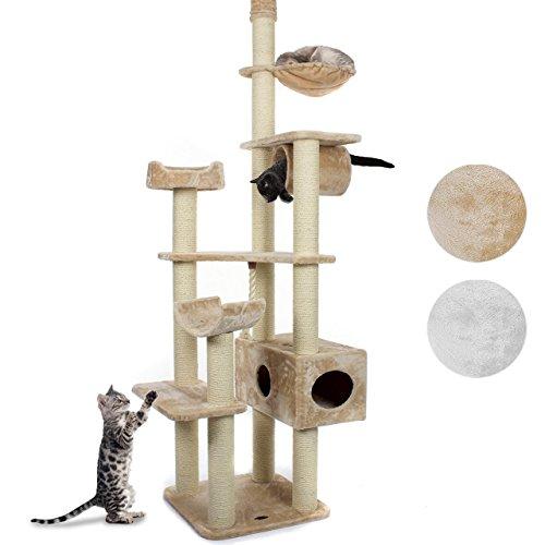 Happypet® Kratzbaum für Katzen deckenhoch höhenverstellbar 230-260 cm hoch, großer Kletterbaum Katzenbaum, Säulen mit Sisal 11 cm, Haus, große Liegemulde, Treppe, Spielseil, Deckenspanner, BEIGE