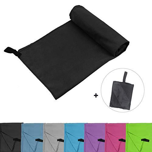 Glamexx24 Mikrofaser Handtücher mit Tasche Reisehandtuch perfekte Sporthandtuch XXL Strandhandtuch Sauna Yoga in Allen GRÖßEN Schwarz