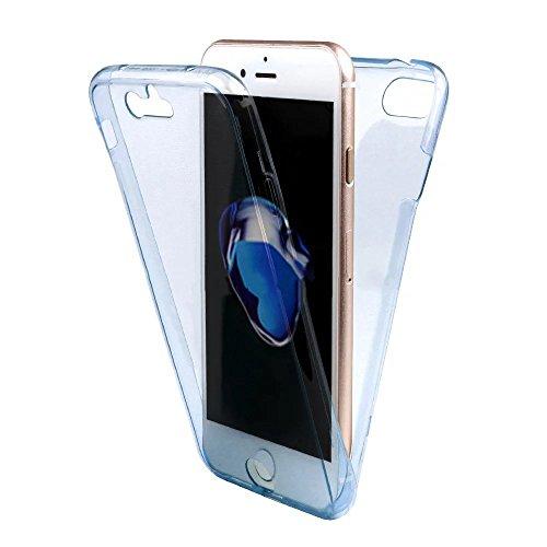 Coque Full Protecion iPhone 7 Plus 360° INTEGRAL Silicone Transparent Etui TPU Gel Souple Intégral Avant Arrière Protecteur Anti-Choc Housse Sunroyal® Ultra Mince Case Cover de Bumper Invisible pour i Full Coque -03