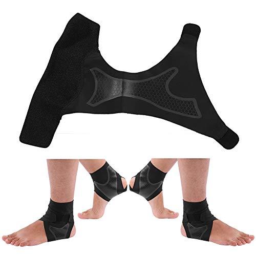 Alomejor Knöchel Klammer Neopren Knöchel Stützklammer Atmungsaktive Stabilisator Bügel mit T förmigen Bügeln für Sport Eignungs Reiten(L-1 Paar)