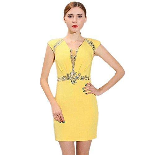 Perlen Damen Tiefen V-Ausschnitt Sexy Kleid . Yellow . S (Promi-halloween-kostüm)