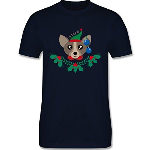 Weihnachten & Silvester - Chihuahua Weihnachts-Elfe - Herren Premium T-Shirt Navy Blau