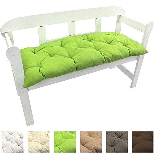 Gartenbank-Auflage Uni Auflage-kissen für Bänke und Gartenschaukel Sitzkissen für Bank Sitzpolster 8 cm dick, Farbe:Grün, Größe:120 x 50 x 8 cm
