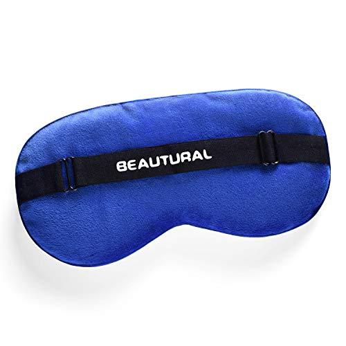 Beautural Schlafmaske Leinsamen Premium Schlafbrille Komplette Dunkelheit Augenmaske Weich Luxus Gemütlich Gesunde Therapeutisch Augenkompresse für Damen und Herren (Blau) -