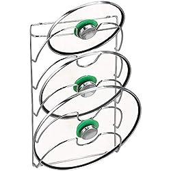 mDesign accroche casseroles Mural, Vertical - Range Couvercle Pratique pour ustensiles de Cuisine et poêle - Porte Couvercle Mural maniable - métal chromé
