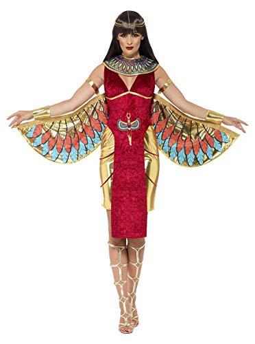 Smiffys, Damen Göttin Isis Kostüm, Kleid, Flügel, Kragen und Kopfschmuck, Größe: S, ()