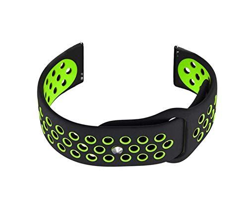 NICKSTON Black with Green Replacement Band Strap for LG Watch W7 W315, Watch Urbane W150, Watch R W110, G Watch W100 Premium Soft...