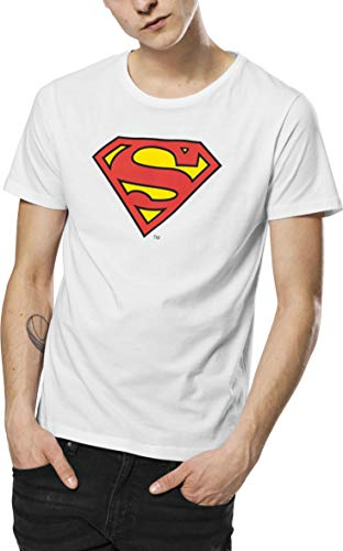 MERCHCODE Herren Superman Logo Tee T-Shirt, White, M (Weiß Shirt Superman)
