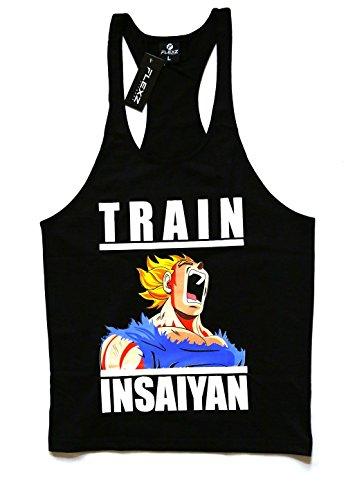 Train Insaiyan Singlet Stringer Weste Bodybuilding, Zyzz yback Racerback DBZ xl blau (Singlet Racerback)