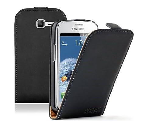 Membrane - Schwarz Klapptasche Hülle Samsung Galaxy Fresh (GT-S7390 / Trend Lite / S7392 Duos) - Flip Case Cover Schutzhülle + 2 Displayschutzfolie