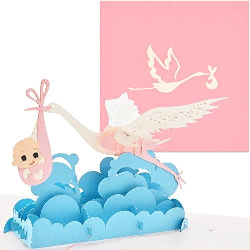 PaperCrush® Pop-Up Karte Baby Geburt Mädchen - 3D Geburtskarte, Glückwunschkarte zur Geburt der Tochter - Handgemachte Gratulationskarte, Popup Karte mit Klapperstorch