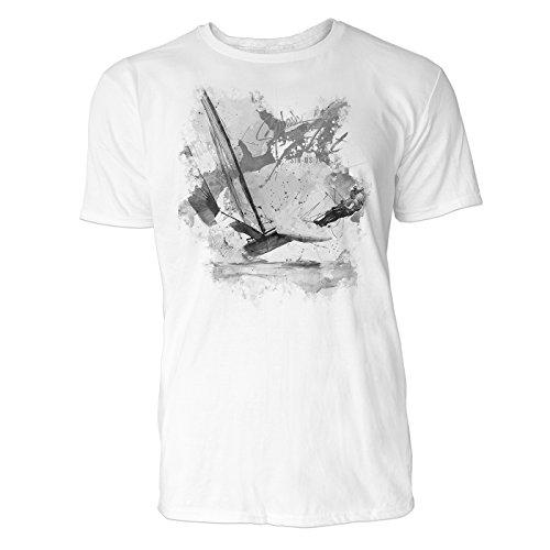 Segeln Katamaran Sinus Art ® Herren T Shirt ( Schwarz Weiss ) Sportshirt Baumwolle