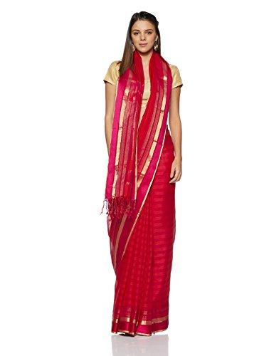 Gocoop Silk Saree With Blouse Piece (GCMAHSCSAA0147_Peach_One Size)