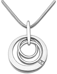 Miore Damen-Kette 925 Sterling Silber Schlangenkette mit Anhänger Zirkonia 45 cm MSM128N