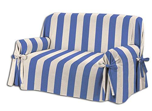 Homelife - copridivano tre posti - elegante salvadivano 3 posti con motivo rigato - telo cotone per copertura divano e protezione da polvere, macchie, usura. alta qualità made in italy - blu/rosso
