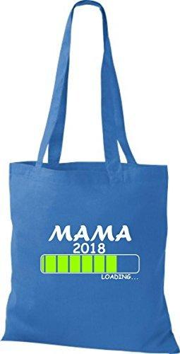 ShirtInStyle Stoffbeutel Baumwolltasche MAMA 2018 Loading Geburt Geschenk Royal