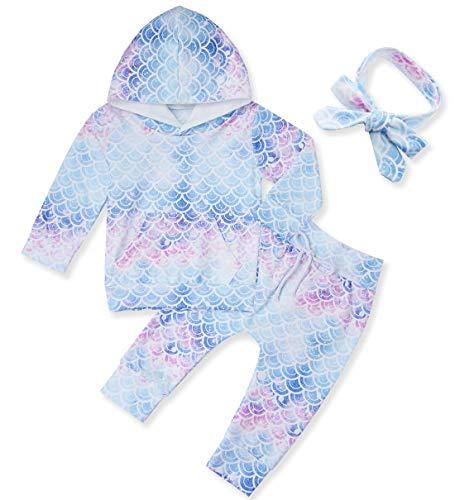 chicolife Kleinkind Mädchen mit Kapuze Set Neugeborenen Trainingsanzüge Bunte Meerjungfrau Skala Bedruckt Sweatshirts Tops Hosen täglichen Leben Kleidung Outfits, 3-6 Monate -