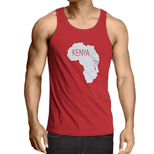 N4199V Camiseta sin mangas Save Kenya ! (XX-Large Rojo Blanco)