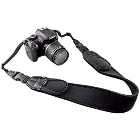 JJC NS-Q2 - Correa de cámara para el cuello (neopreno, sistema de acople rápido, muy ancha, con bolsillos pequeños)