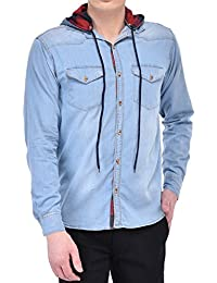 Lafantar Men's Cotton Denim Shirt (Blue)