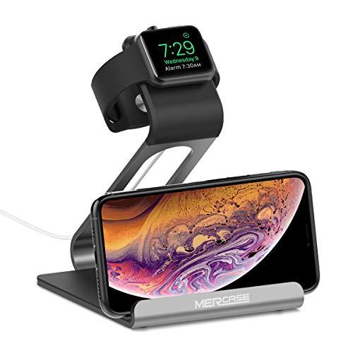 Ladestation iWatch Serie 1 2 3 4 Ständer Nachtmodus Docking Station iPhone Samsung Huawei -Spacegrau ()