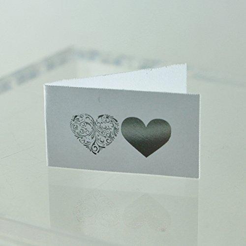 Il villaggio degli sposi 20 bigliettini bomboniera matrimonio con cuori argento
