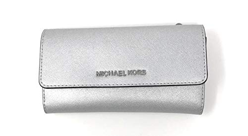 Michael Kors Jet Set Reise-Geldbörse, Leder, dreifach faltbar, groß - silber - Einheitsgröße