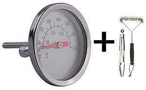 Remplacement Thermomètre 60392Compatible avec Weber Spirit 200/300, Genesis Doré Grill. Y Compris Brosse et pince