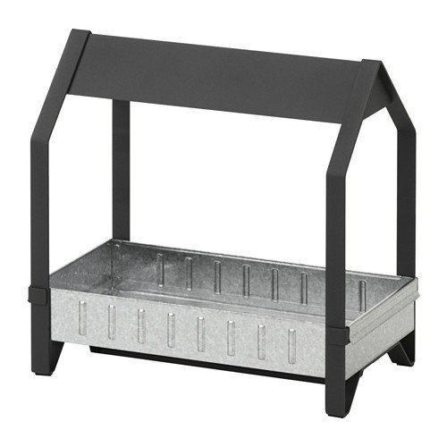Ikea KRYDDA Pflanzelement in schwarz; verzinkt; (44x25cm)
