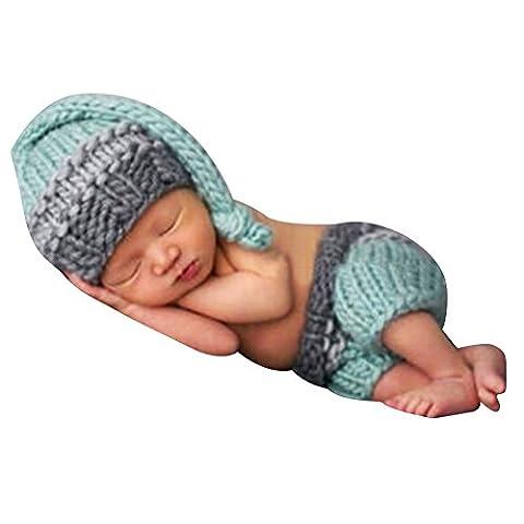 Chouette Nouveau-né Photographie Accessoires Vêtements En Tricotage Costumes Crochet (Bleu