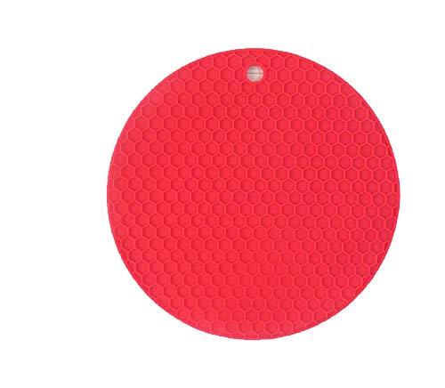 Rund Braun Silikon Rutschfest Einfarbig Platzdeckchen Wasserdicht Platzsets (Rot) ()