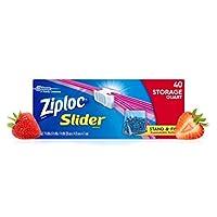 Ziploc Slider Storage Bags, Quart Size(only 40 counts)