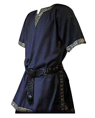 Manga Corta Medieval De Los Hombres Tunica Medieval Camisa con Cuello En V Sin Correa Traje Azul Marino XL