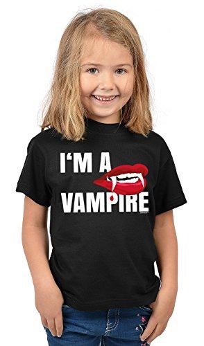 Kinder Halloween T-Shirt - Kindershirt Halloweenparty : I´m a Vampire - Kinder Tshirt Vampier Blutsauger Gr: S = 122-128